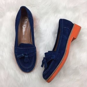 Jeffery Campbell blue suede loafers w orange sole
